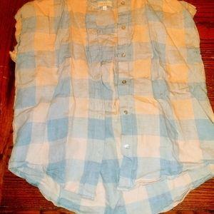 Lucky Brand short sleeve linen plaid shirt